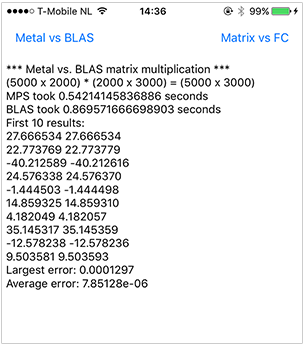 Screenshot of Metal versus BLAS