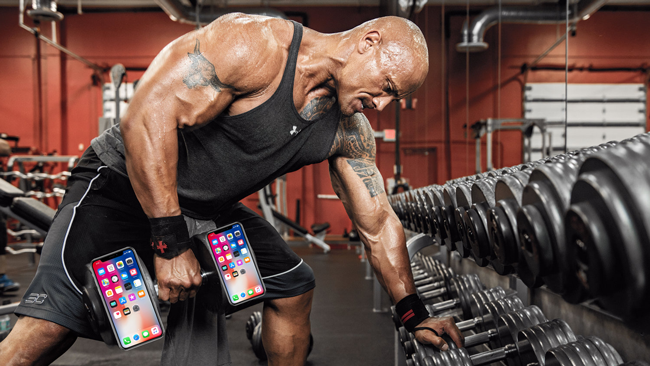 The Rock telling his iPhone how it is